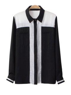 Color Block Shirt Collar Chiffon Shirt - Black M