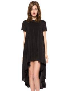 Solid Color Short Sleeve High-Low Dress - Black Xl