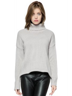 Turtle Collar Solid Color Sweater - Gray 2xl
