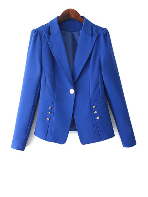 latest One Button Solid Color Blazer - BLUE S Mobile