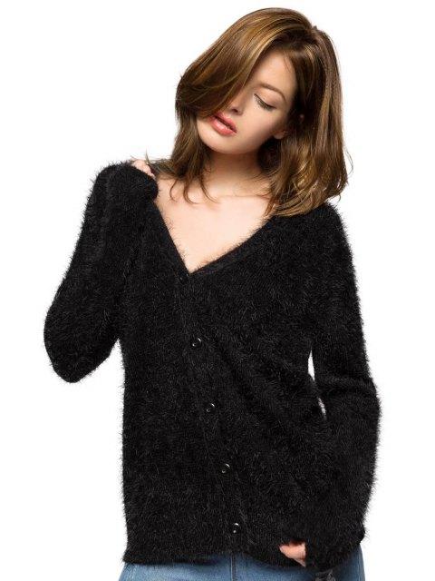 women Black Long Sleeve Mohair Cardigan - BLACK XS Mobile