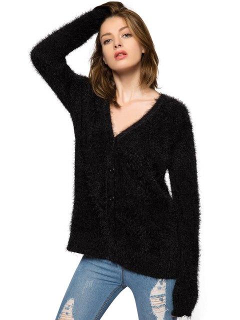 ladies Black Long Sleeve Mohair Cardigan - BLACK M Mobile