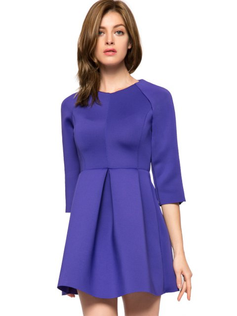 shop Solid Color 3/4 Sleeve A-Line Dress - PURPLE L Mobile