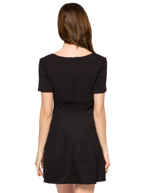 buy Short Sleeve Black A-Line Dress - BLACK S Mobile