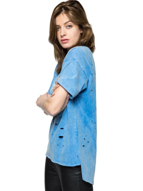 women's Print Broken Hole Short Sleeve T-Shirt - BLUE S Mobile