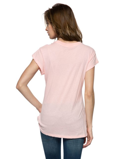 new Letter Arrow Print Short Sleeve T-Shirt - PINK XS Mobile