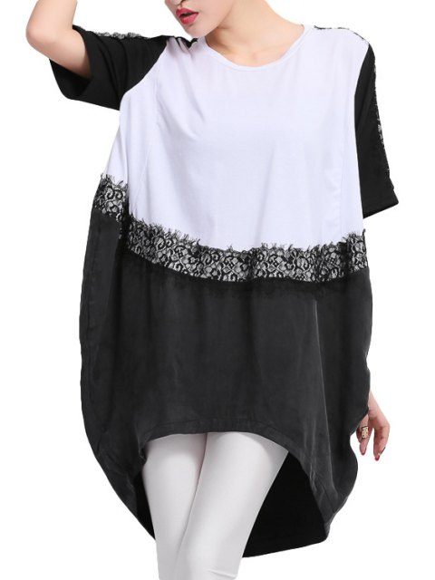 latest Short Sleeve Color Block T-Shirt - WHITE AND BLACK 3XL Mobile