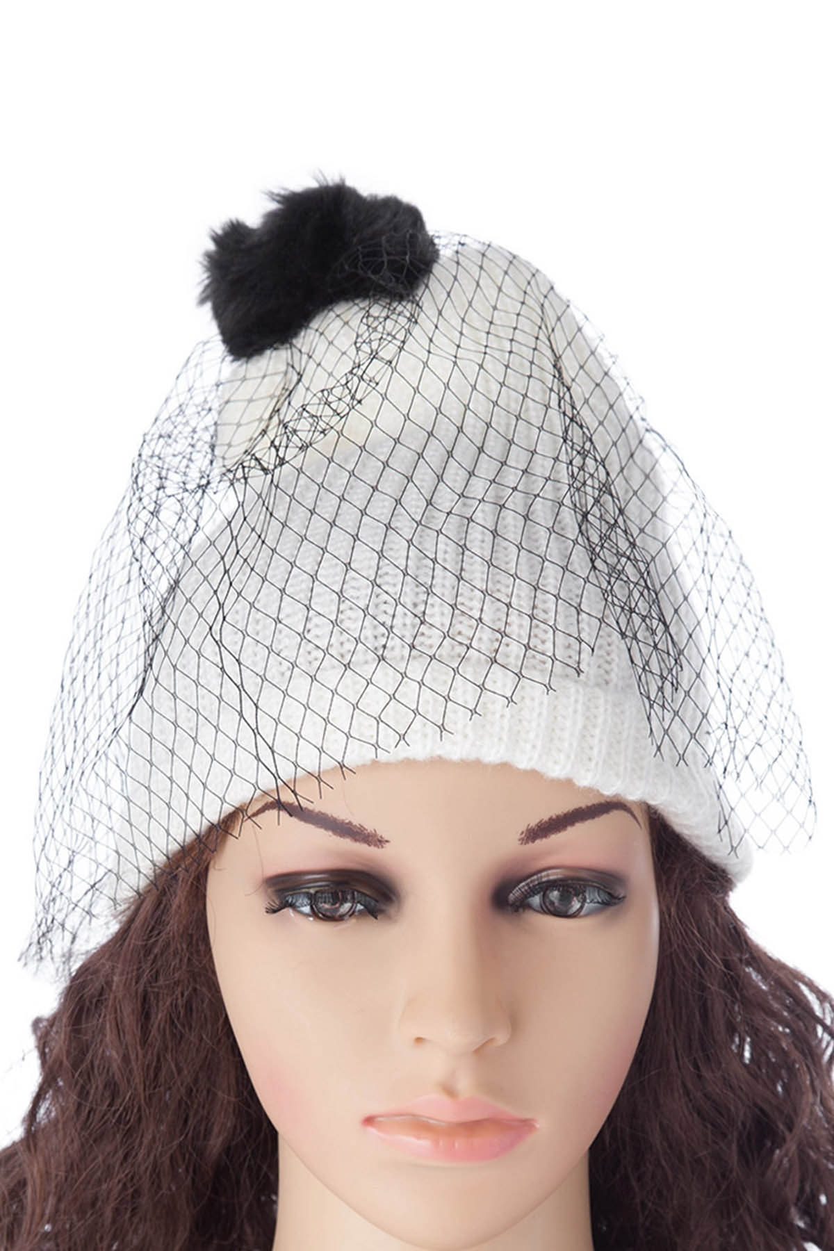 Pompon Design Veil Hat