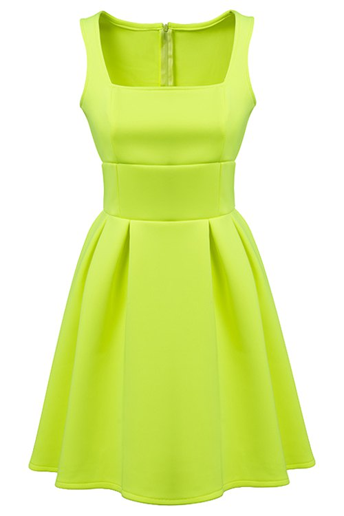 Sleeveless Solid Color A-Line Dress