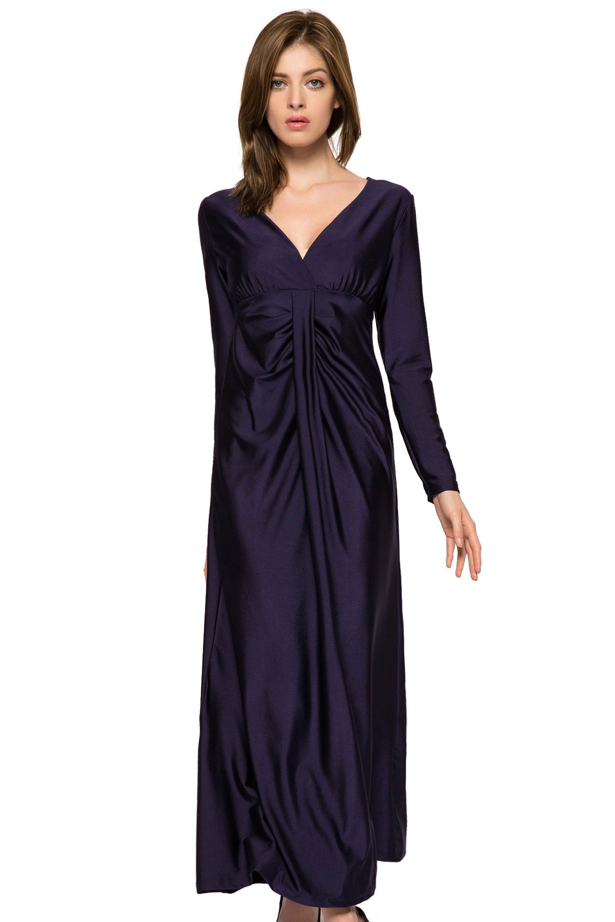 Plunging Neck Solid Color Dress - DEEP BLUE XS