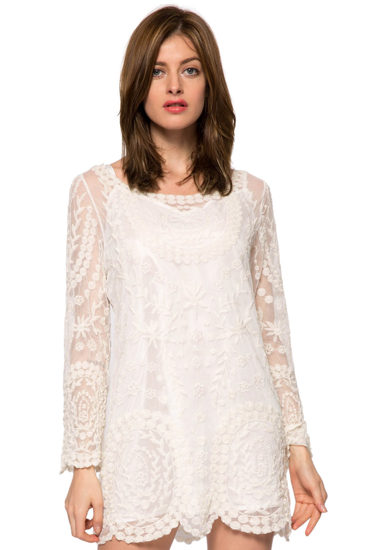 Scoop Collar Long Sleeve Lace Embroidery Dress