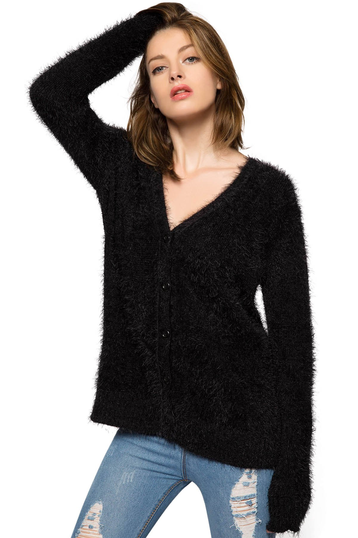 Collarless Long Sleeve Single-Breasted Black Mohair Cardigan