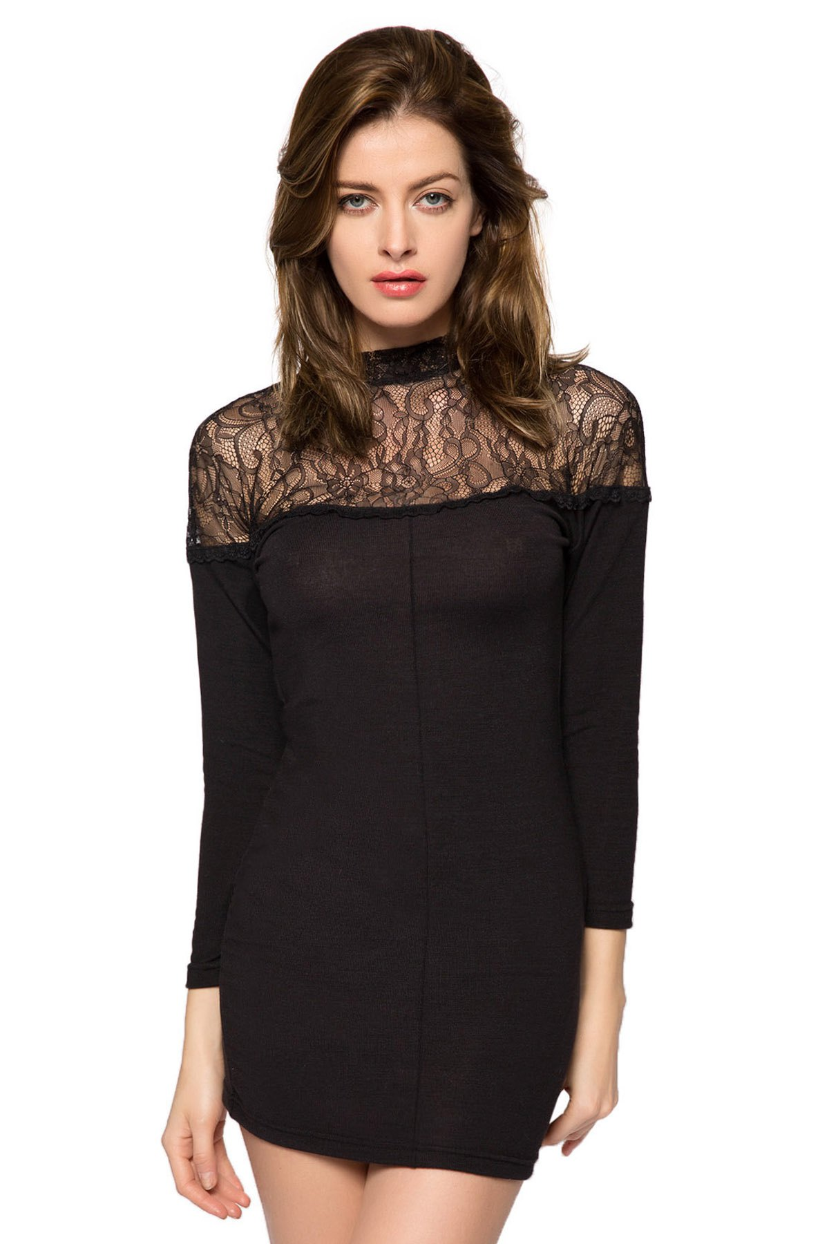 3/4 Sleeve Lace Splicing Dress