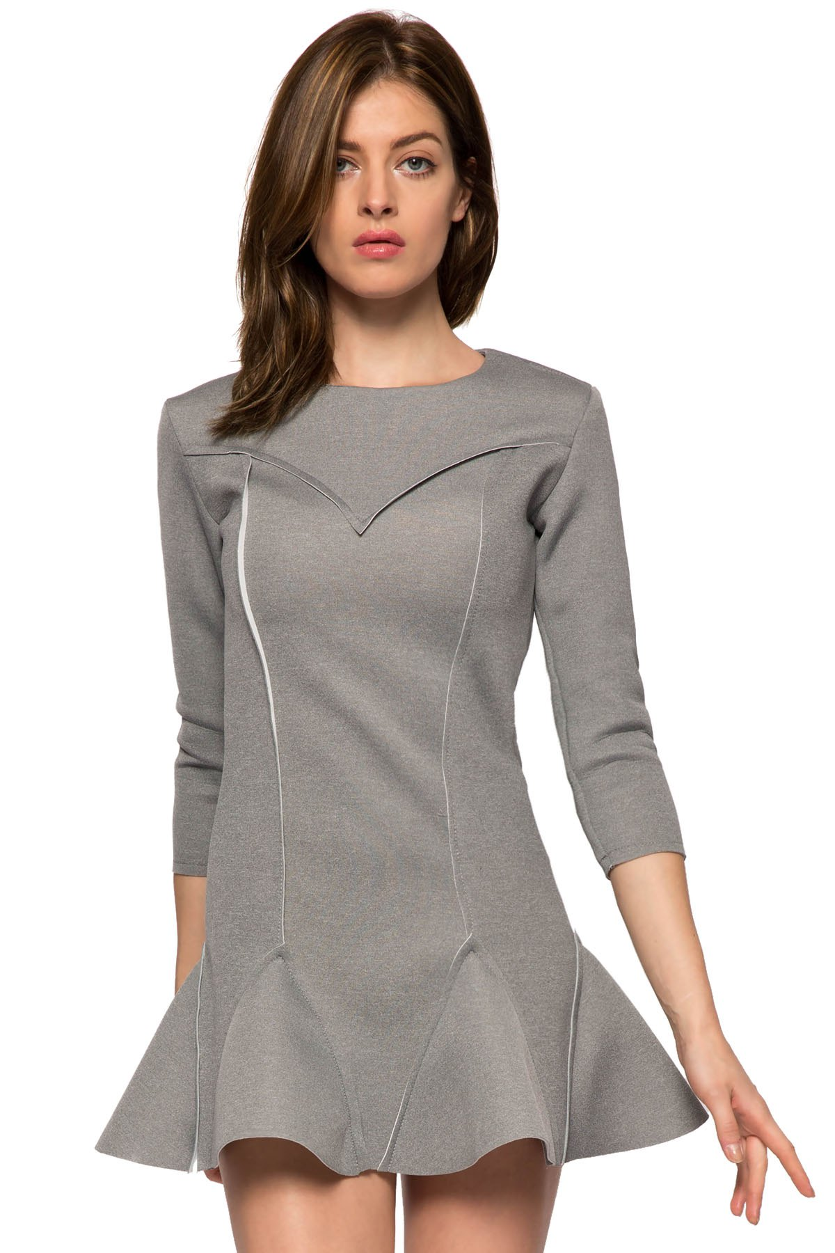 Solid Color 3/4 Sleeve Splicing Dress
