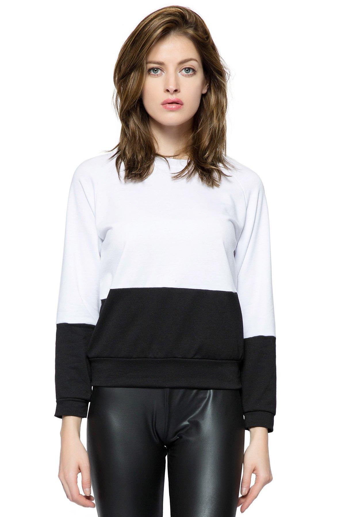 Long Sleeves Color Block Sweatshirt - WHITE/BLACK XS