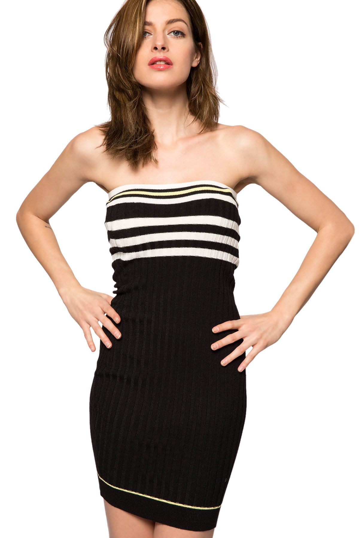 Strapless Striped Sweater Dress - BLACK XS