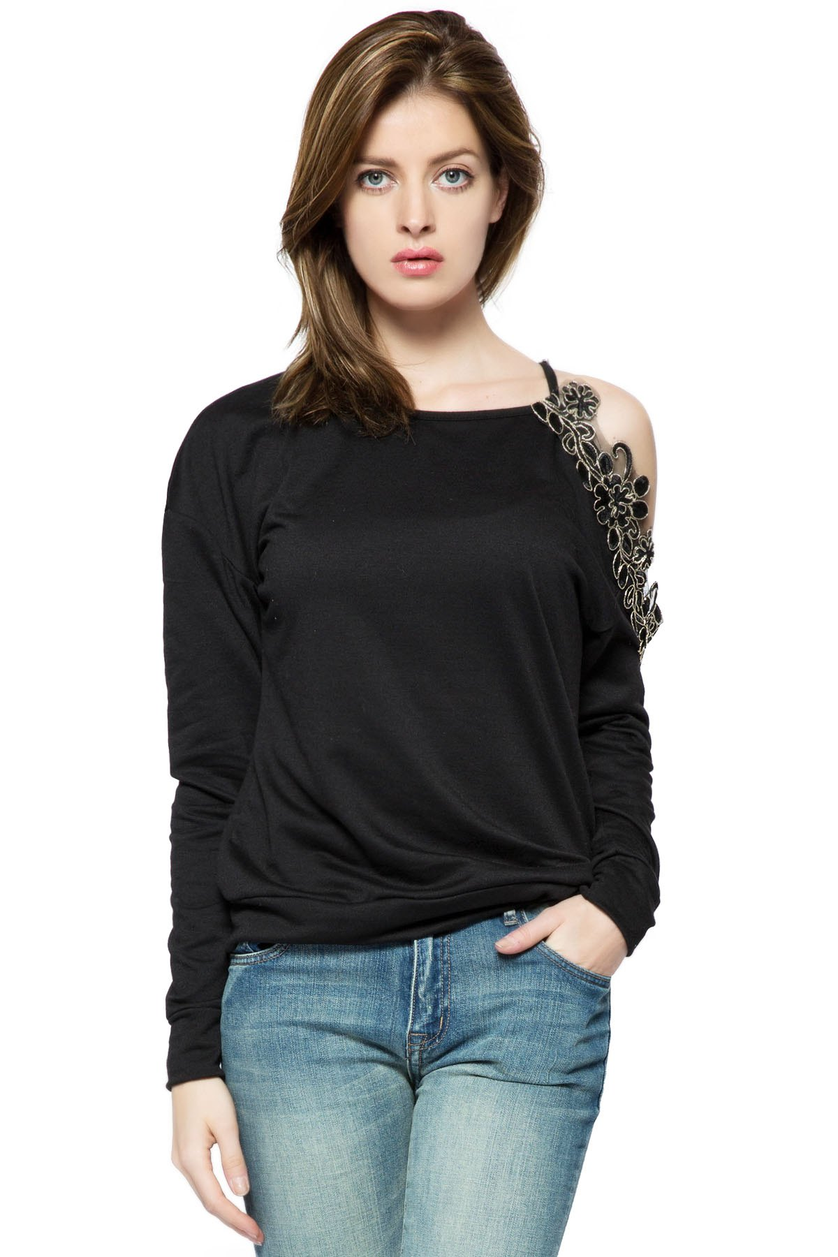 Embroidery Off-The-Shoulder Sweatshirt