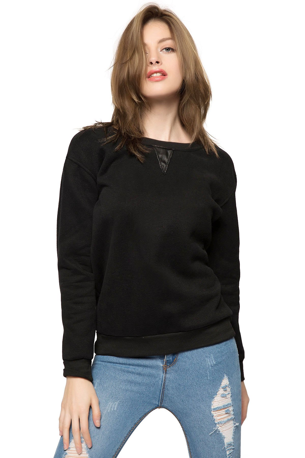 Black Long Sleeve Fringe Sweatshirt - BLACK M