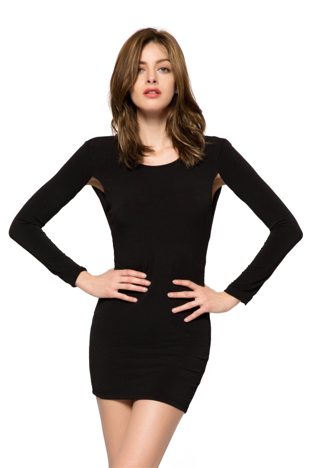Black 3/4 Sleeve Backless Dress - BLACK XS