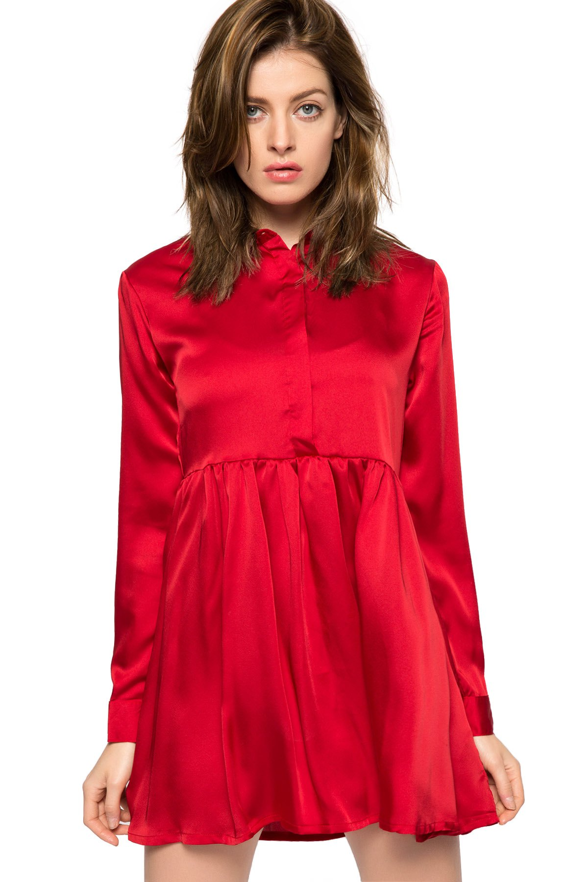 Red Turn-Down Collar Breasted Dress - RED XS
