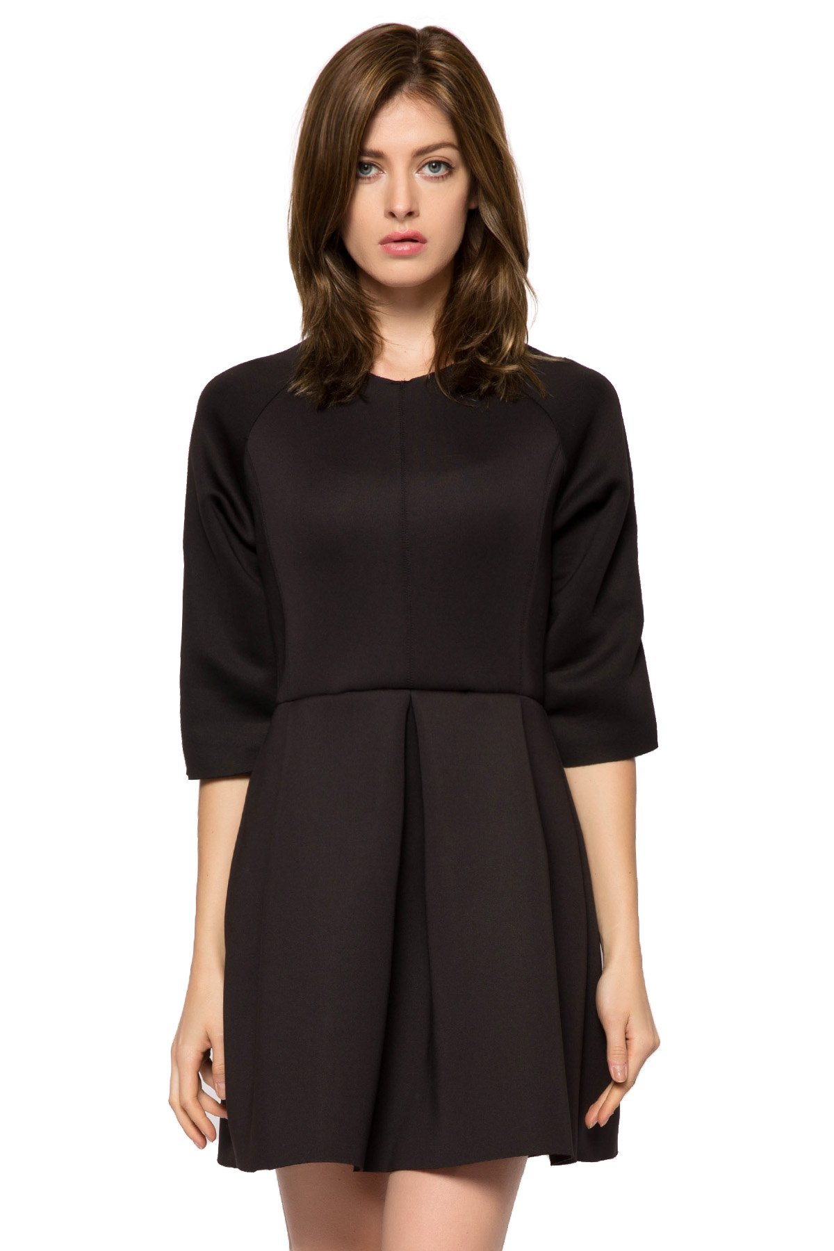 Round Collar 3/4 Sleeve Solid Color Pleated A-Line Dress