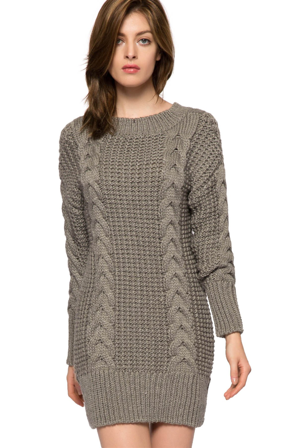 Solid Color Cable-Knit Sweater Dress GRAY Sweater Dresses | ZAFUL