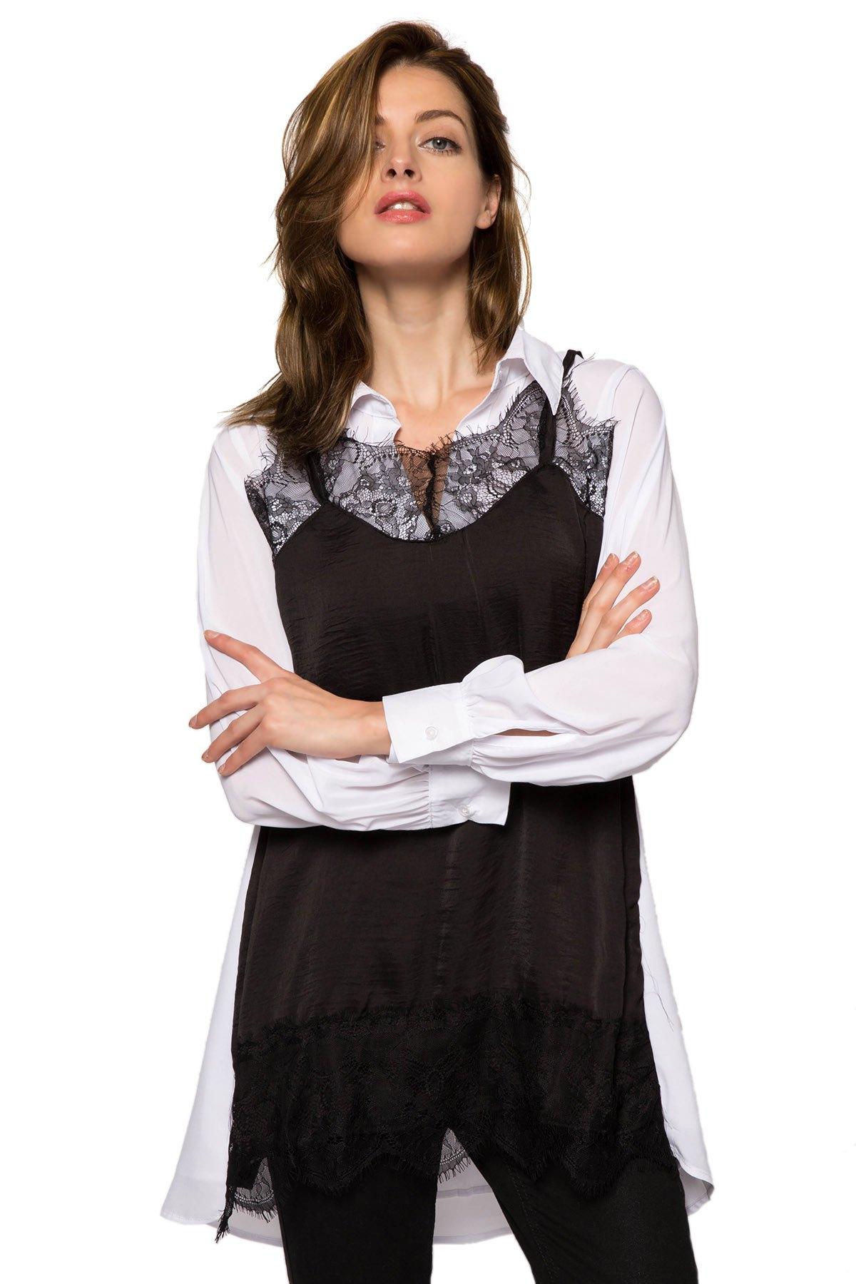 Lace Splicing Color Block Dress 112635201