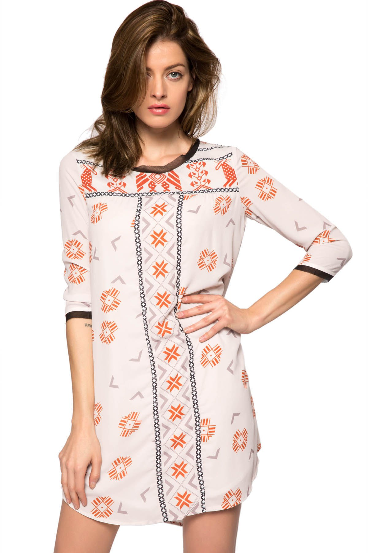 Print 3/4 Sleeve Lace-Up Dress - OFF WHITE XS