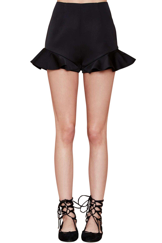 Ruffle Hem Shorts Black Ruffles Hem Shorts