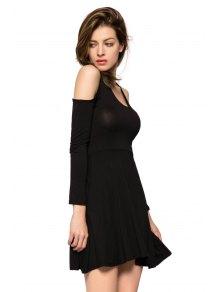 Off-The-Shoulder Long Sleeve Dress - BLACK S