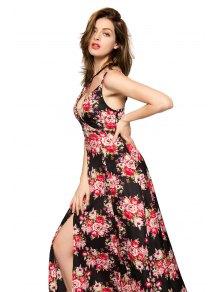 Floral Print Spaghetti Straps Slit Dress