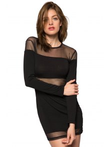 Voile Splicing Long Sleeve Dress - BLACK XS