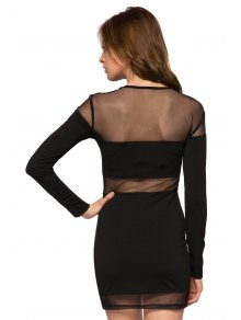 Voile Splicing Long Sleeve Dress - BLACK XS