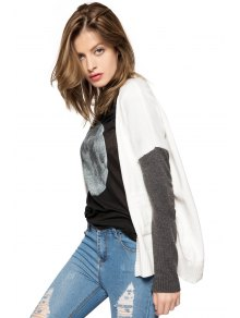 Color Block Long Sleeves Cardigan - WHITE XS