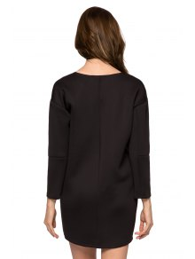 Black Round Collar Long Sleeve Dress - BLACK XS