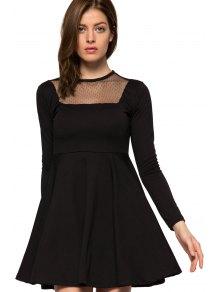 Voile Splicing Black A-Line Dress