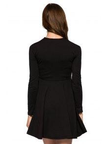 Voile Splicing Black A-Line Dress - BLACK XS