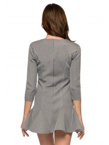 Solid Color 3/4 Sleeve Splicing Dress - GRAY XS