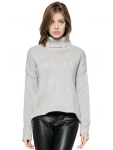 Turtle Collar Solid Color Sweater - Gray M