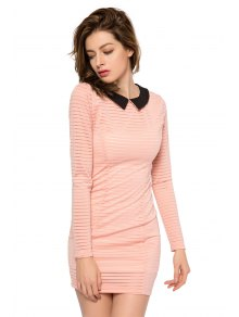 Striped Long Sleeve Color Block Dress - PINK XS
