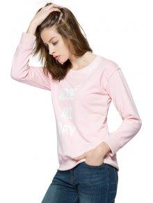 Pink Letter Print Long Sleeve Sweatshirt