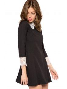 Lace Splicing Turn-Down Collar Dress - BLACK XS