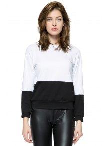 Long Sleeves Color Block Sweatshirt