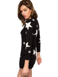 Star Pattern Long Sleeve Sweater Dress