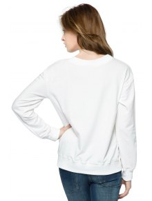 Letter and Dog Print Sweatshirt - WHITE XS