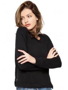 Black Long Sleeve Zipper Sweatshirt