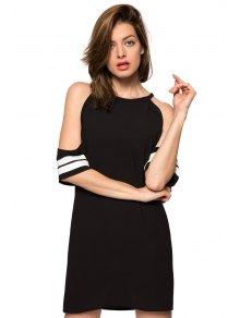 Off-The-Shoulder Half Sleeve Striped Dress