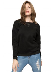 Black Long Sleeve Fringe Sweatshirt
