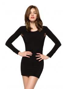 Black 3/4 Sleeve Backless Dress