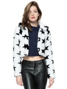 Star Pattern Faux Fur Jacket